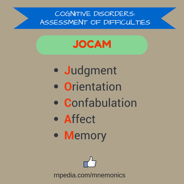 Cognitive disorders: assessment of difficulties