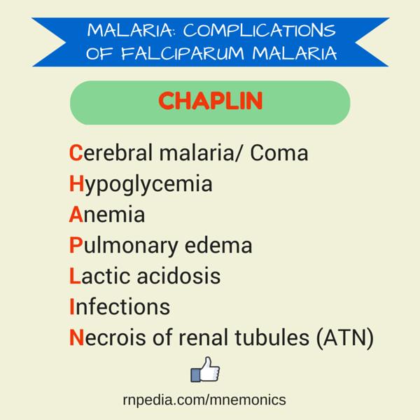 Cerebral malaria/ Coma Hypoglycemia Anemia Pulmonary edema Lactic acidosis Infections Necrois of renal tubules (ATN)